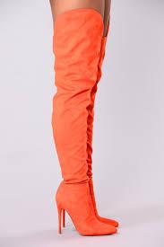 as suede thigh high boot orange