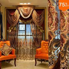 Curtains For Brown Living Room Most Luxury Coffee Royal Velvet Embroidery Curtain Brown Living