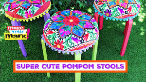 Cheap Bar Stools Ikea 4522 by How To Super Cute Pompom Stools Youtube