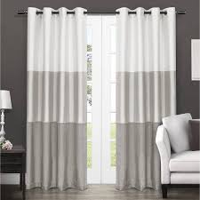 Window Curtains Exclusive Home Chateau Striped Faux Silk Grommet Top Window