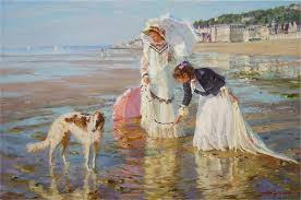 alexander averin beach scene from normandy with two ladies and