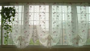 Balloon Curtains For Kitchen by Hand Embroidered Pink Flowers Balloon Shade Sheer Voile Cafe