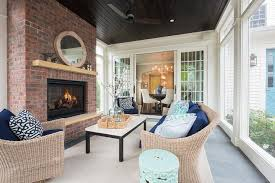 Cozy Sunroom Sunroom With Dark Stained Plank Ceiling Transitional Deck Patio