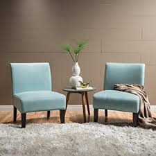 Light Blue Accent Chair Amazon Com Kendal Light Blue Fabric Accent Chair Set Of 2
