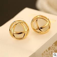 gold stud earrings for women buy yteh87 vintage real gold plated fashion stud earrings for women