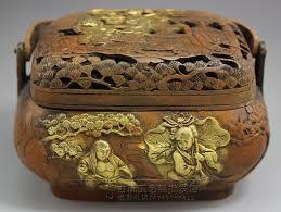 antique copper gilt ornaments incense smoke on