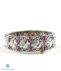 silver antique bracelet images The parijata silver antique bangle red buy silver bangles online jpg