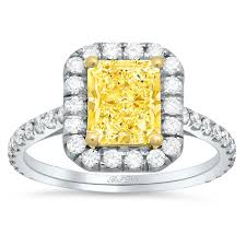 radiant cut halo engagement rings yellow halo engagement ring for radiant cut