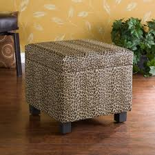 living room square leopard print storage ottoman with black