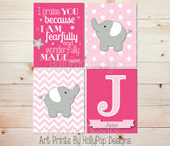 Pink Elephant Nursery Decor Pink Elephant Wall Elephant Nursery Decor Baby Wall