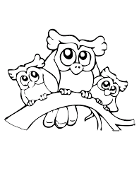 three owls funny coloring pages for kids eej printable owls