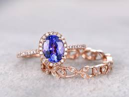 tanzanite wedding rings 6x8mm oval tanzanite wedding ring set engagement ring gold