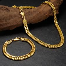 gold filled necklace set images 2018 mens real 24k gold filled bracelet curb link chain necklace jpg