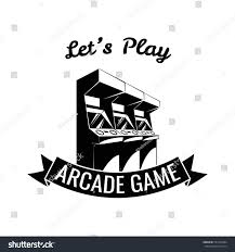 arcade room label videogame lets play stock vector 537359494