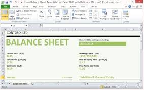 Opening Day Balance Sheet Template Free Balance Sheet Template For Excel 2013 With Ratios