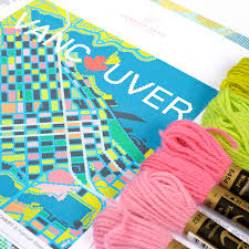 Map Tapestry Contemporary Vancouver City Map Tapestry Kit By Hannah Bass