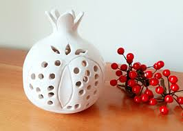 pomegranate tealight holder modern ceramic art handmade