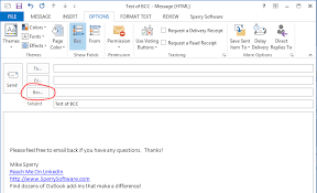 If You Blind Copy Someone Can They Reply All How To Add A Bcc To Outlook Sperry Software