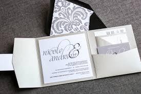 Elegant Wedding Invitations Silver Wedding Invitations Pocketfold Wedding Invites Formal