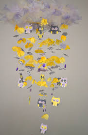 Yellow Gray Nursery Decor Baby Owl Nursery Mobile Yellow Lavender Gray White Nursery Decor