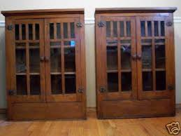 Arts And Crafts Cabinet Doors Mission Arts Crafts Antique Oak Glass Door Cabinets 2 Antique