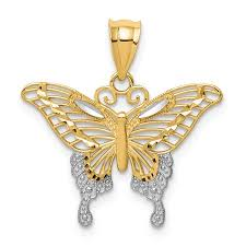 butterfly pendant necklace gold images Icecarats 14k yellow gold butterfly pendant charm necklace jpeg