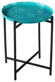 Turquoise Side Table Medallion Side Table Transitional Outdoor Side Tables By