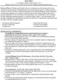 Soccer Resume Example by High Coach Cover Letter