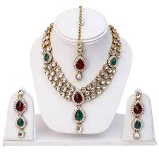 red necklace earrings set images Buy shining diva multicolor kundan necklace with earrings set for jpg