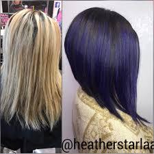 purple hair shadow root violet hair aline haircut straight