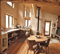 straw bale cob adobe home with great light and open floor plan