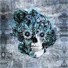 sugar skull blue floral grunge design comforter cover sugar skull