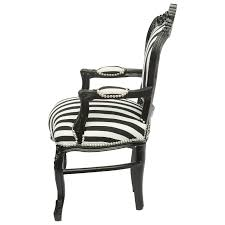Pure Black Tone Baroque Armchair Dining Room Chair Black White Stripy Cushioning