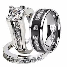 titanium wedding ring sets hers and his stainless steel princess wedding ring set
