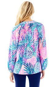 Lilly Pulitzer Swell Lilly Pulitzer Elsa Silk Top Gypset Paradise In Blue Lyst