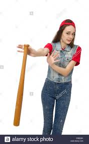 pretty holding baseball bat isolated on white stock photo