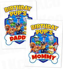 paw patrol iron transfer bone blue birthday pup u0027s daddy
