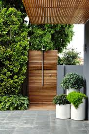 outdoor shower in a modern contemporary garden setting lusting