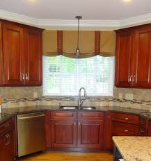 cool kitchen window treatments ideas with brown cabinet