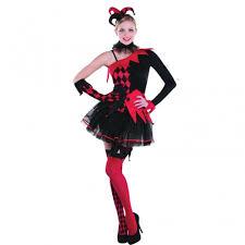 halloween ladies fancy dress costume jesterina clown uk 14 16
