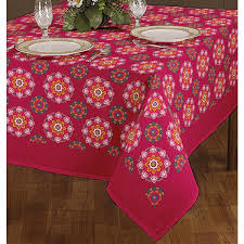 pink round table covers geomatric flower pink and white round table cloth 140x200 cm
