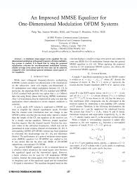 an improved mmse equalizer for one dimensional modulation ofdm