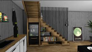 spring4sims wooden storage staircase for the sims 4