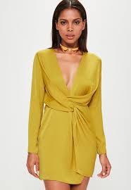 yellow dress yellow satin wrap mini dress missguided