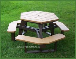 Commercial Picnic Tables And Benches Hexagon Picnic Tables At American Recycled Plastic Outdoor Furniture