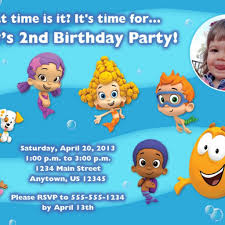 bubble guppies custom photo birthday invitation you print
