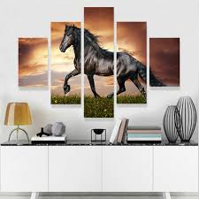 Horse Decorations For Home by Geves 5 Panel Modern Printed Large Horse Painting Picture Cuadros