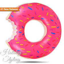 amazon com inflatable donut pool float pink by holiday styling 48