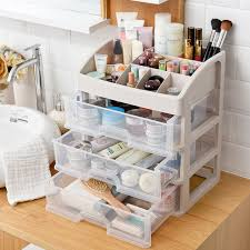 Makeup Desk Organizer Plastic 3 Drawers Jewelry Cosmetic Desk Organizer Make Up