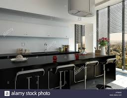 3d rendered stylish modern black bar counter in a fitted kitchen